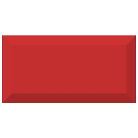 Carrelage métro biseauté brillant rouge 10x20cm MUGAT ROJO - 1m²