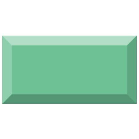 Carrelage métro biseauté brillant vert olive 10x20cm MUGAT OLIVA - 1m²