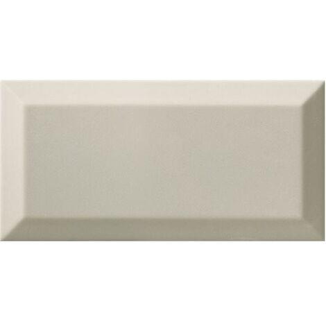 Carrelage Métro biseauté gris clair brillant 10x20 cm - 1m²