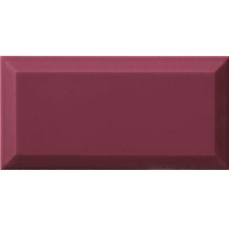 Carrelage Métro biseauté Malva amarante brillant 10x20 cm - 1m²