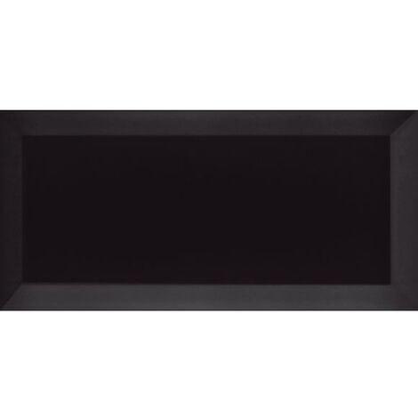 Carrelage Métro biseauté Negro noir mat 10x20 cm - 1m²