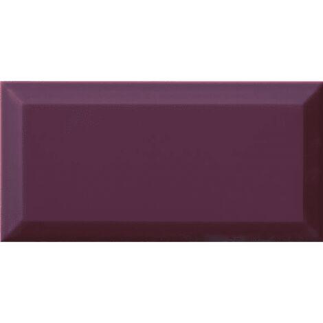 Carrelage Métro biseauté Plum violet brillant 10x20 cm - 1m²