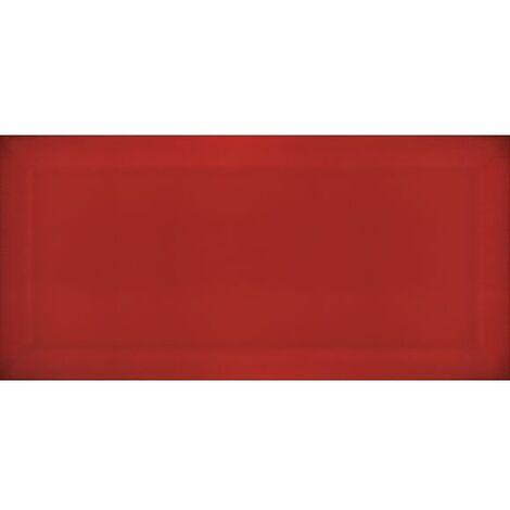 Carrelage Métro biseauté Rojo rouge brillant 10x20 cm - 1m²
