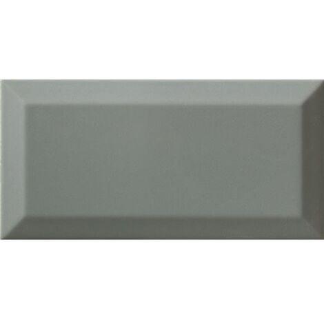 Carrelage Métro biseauté Sage vert de gris brillant 10x20 cm - 1m²