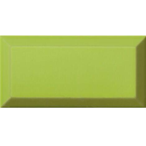 Carrelage Métro biseauté Verde vert tilleul brillant 10x20 cm - 1m²