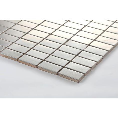 Carrelage mosaïque en acier inoxydable Argent pour les murs (MT0037)