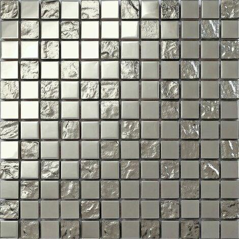 Carrelage mosaïque en acier inoxydable et verre texturé . Argenté. (MT0129)