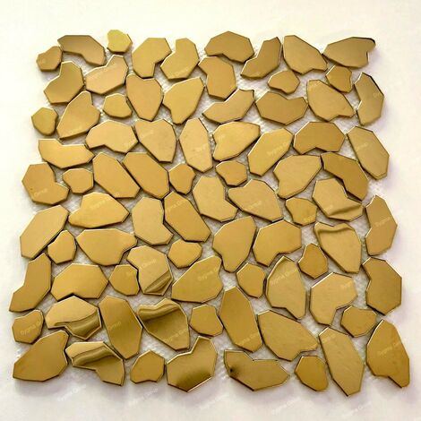 Carrelage Mosaique en metal doré pour mur ou sol de douche et salle de bains Syrus Gold