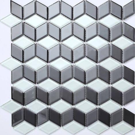 Carrelage mosaïque en verre. Blanc et Noir 3D Effet motif cube. MT0083