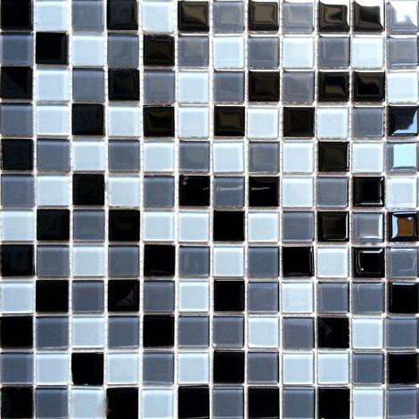 Carrelage mosaïque en verre. Blanc Noir Gris. (MT0013)