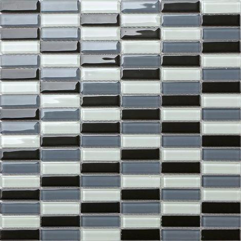 Carrelage mosaïque en verre. Blanc Noir Gris. (MT0015)