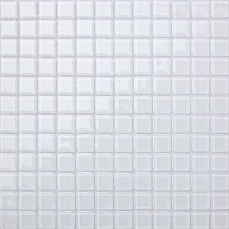 Carrelage mosaïque en verre. blanc pur. (MT0079)