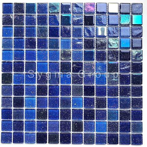 carrelage mosaique en verre bleu pour mur salle de bains et cuisine Habay Bleu