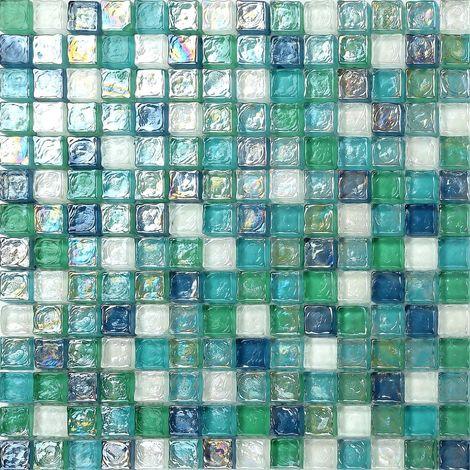 Carrelage Mosaïque En Verre. Bleu, Vert Et Blanc Perle. (MT0052)   30cm X  30cm Sheet