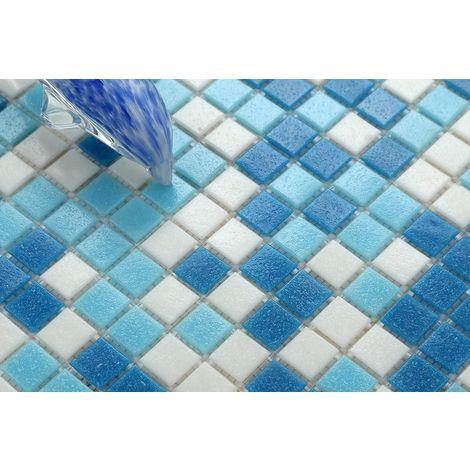 Carrelage mosaïque en verre. Carreaux de mosaïque de piscine. Bleu ...