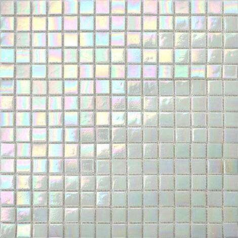 Carrelage mosaïque en verre. Carreaux de mosaïque de piscine. perle blanc irisé chatoyante. (MT0131)