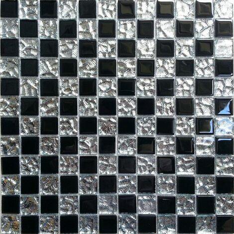 Carrelage mosaïque en verre. Chrome Argent et Noir (MT0007)