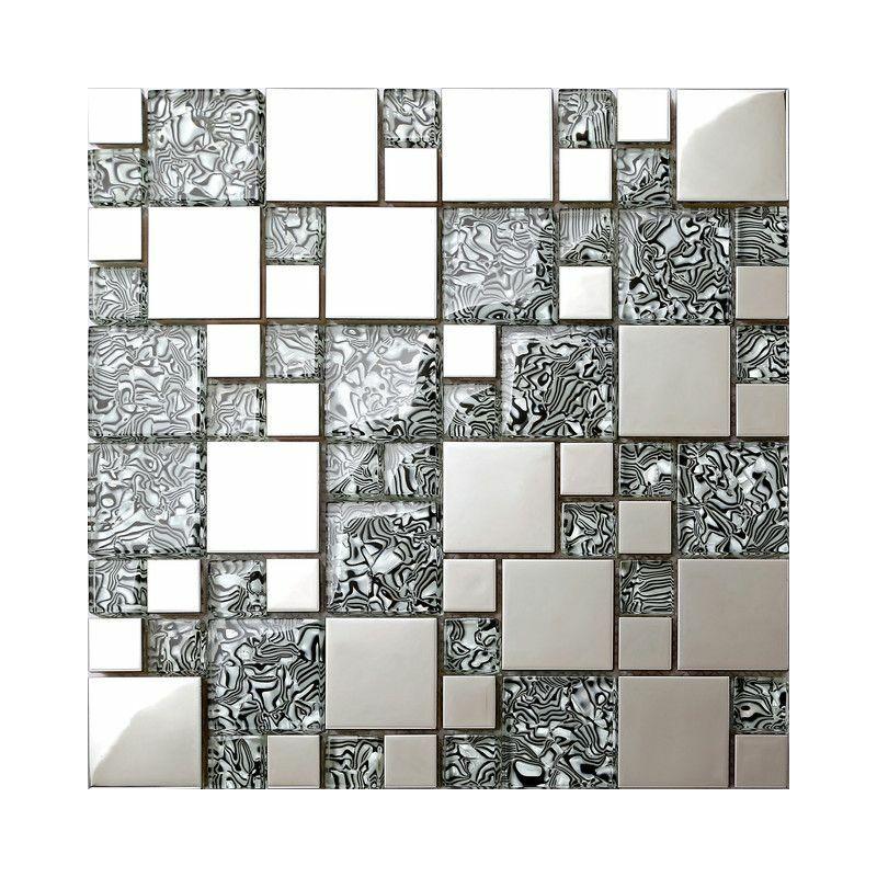 Verre-mosaïque de pierre or argent pierres naturelles Mosaïque Carrelage Carreaux miroir revêtement sol