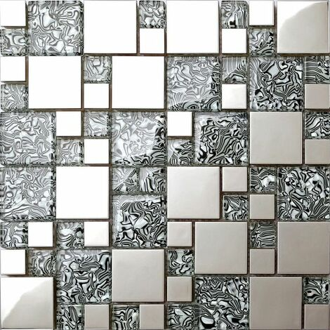 Carrelage mosaïque en verre et acier inoxydable. Gris, Argent. (MT0132)