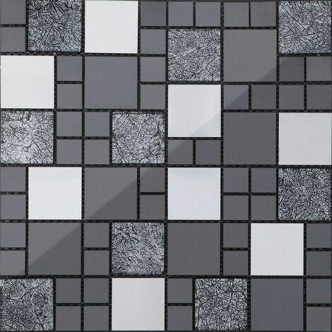 Carrelage mosaïque en verre et acier inoxydable. Noir, Argent (MT0002)