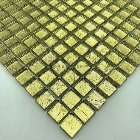 carrelage mosaique en verre feuille couleur or pour mur mv-hedra-or