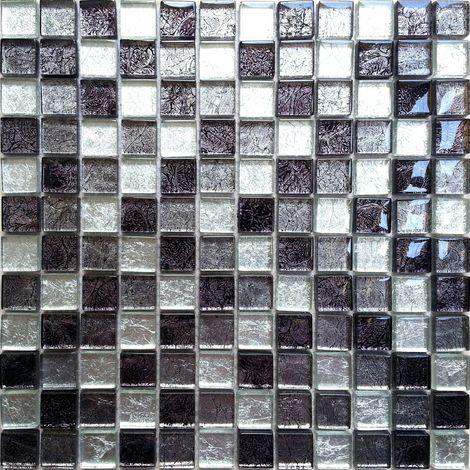 Carrelage mosaïque en verre. Noir, Argent (MT0004)