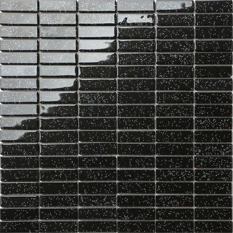 Carrelage mosaïque en verre Noir Avec des paillettes multicolor MT0010