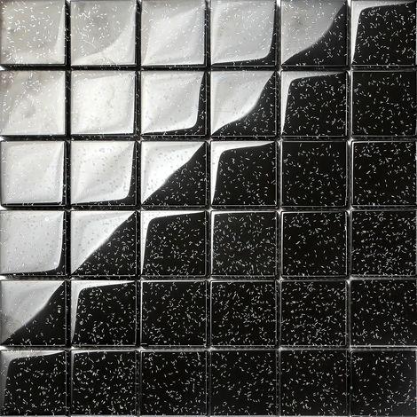 Carrelage mosaïque en verre. Noir Avec des paillettes multicolores. (MT0088)