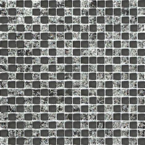 Carrelage mosaïque en verre. Noir. Effet verre craquelé ou fissuré (MT0043)