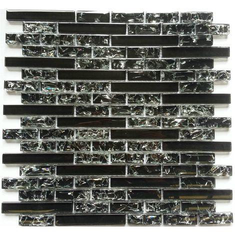Carrelage mosaïque en verre. Noir. Effet verre craquelé ou fissuré (MT0074)