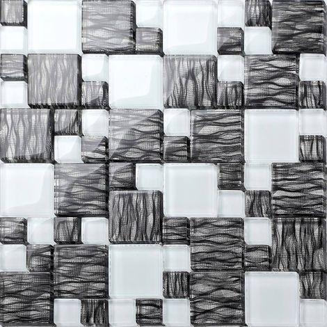 Carrelage mosaïque en verre. Noir et Blanc. Motif rayures ondulées. (MT0077)