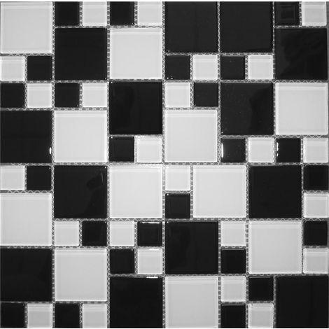 Carrelage mosaïque en verre. Noir et Blanc. (MT0049)