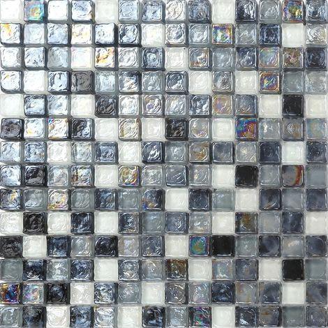 Carrelage mosaïque en verre. Noir, Gris et Blanc Perle. (MT0051)