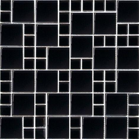 Carrelage mosaïque en verre. Noir. pour les murs (MT0025)