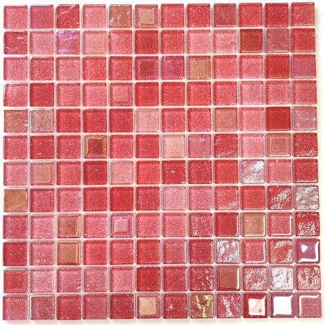 carrelage mosaique en verre rouge pour mur salle de bains et cuisine Habay Rouge