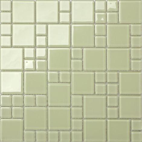 Carrelage mosaïque en verre. Vert clair. pour les murs (MT0024)