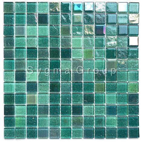 carrelage mosaique en verre vert pour mur salle de bains et cuisine Habay Vert