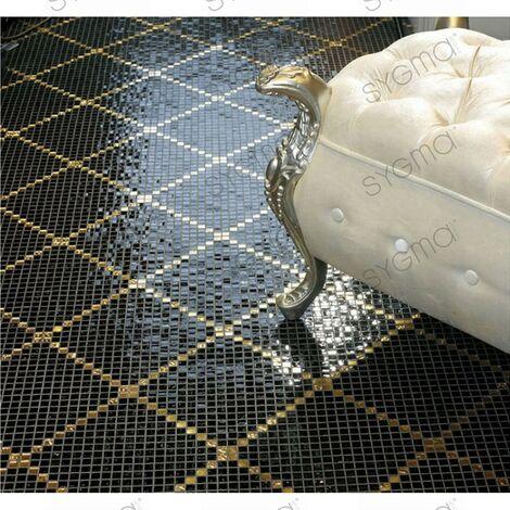Carrelage mosaique pate de verre noir et doré sol ou mur Allevar