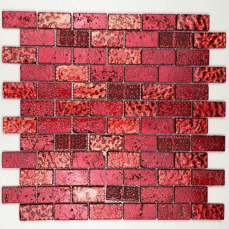 Carrelage mosaique pour mur en verre et pierre metallic brique rouge - mos-mvp-metalbr-rouge