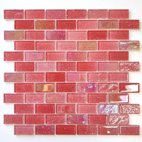 Carrelage mosaique verre rouge pour salle de bains mur de cuisine Kalindra Rouge