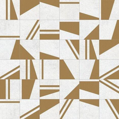 Carrelage motifs géométriques 20x20 cm Kokomo Blanc Or - 1m²