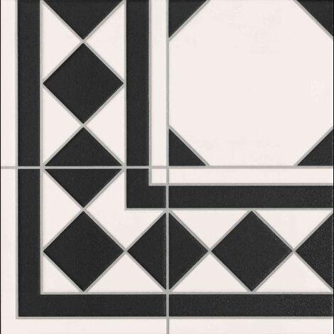 Carrelage mur et sol imitation octogonal a cabochon 33x33 cm OXFORD NEGRO - 1m²