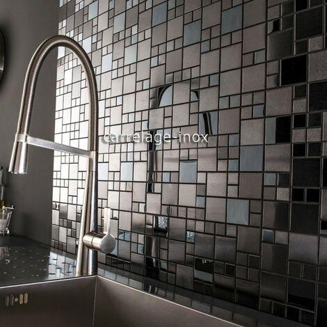 """main image of """"Carrelage noir inox brillant et mat pour mur de cuisine ESKA"""""""