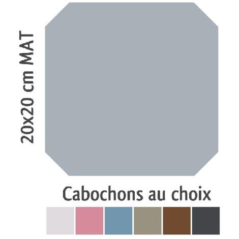 Carrelage octogonal 20x20 gris mat et cabochons CABARET GRIS HUMO - 1m²