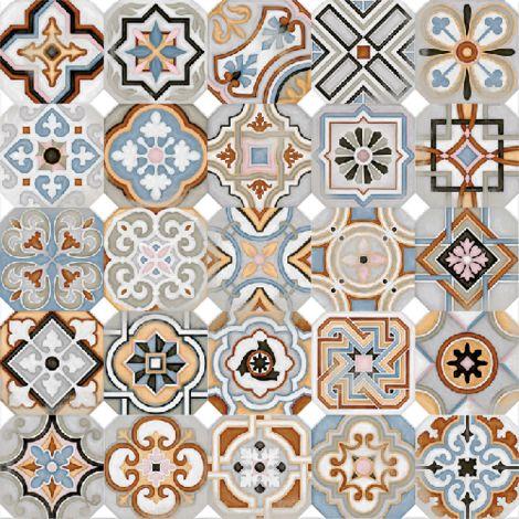 Carrelage octogonal decore 20x20 mat et cabochons MUSICHALLS - 1m²