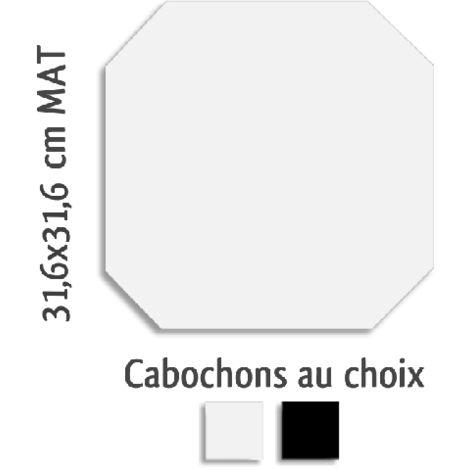 Carrelage octogonal rectifié 31.6x31.6 blanc mat et cabochons MONOCOLOR ALASKA - 1m²