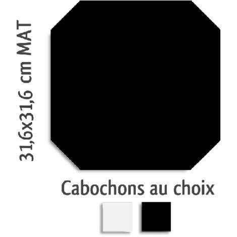 Carrelage octogonal rectifié 31.6x31.6 noir mat et cabochons MONOCOLOR NEGRO - 1m²