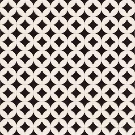 Carrelage pétale noir et blanc ORLY 44x44 cm - 1.37m²