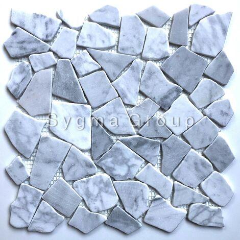 Carrelage pierre mosaique marbre pour sol et mur galets salle de bain Oria Blanc