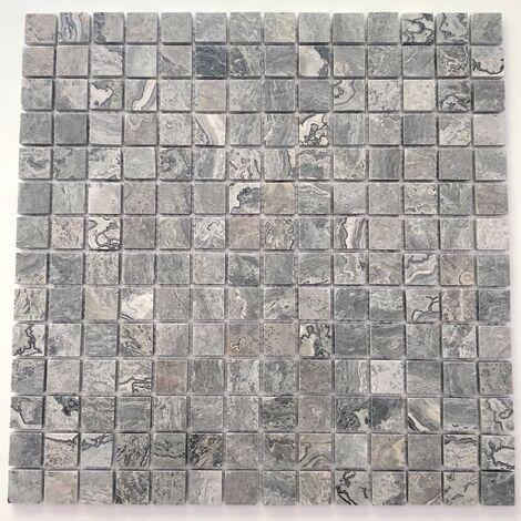 Carrelage pierre mosaique marbre pour sol ou mur Nizza Gris